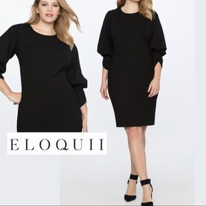 Eloquii Drama Sleeve Ruch Front Dress